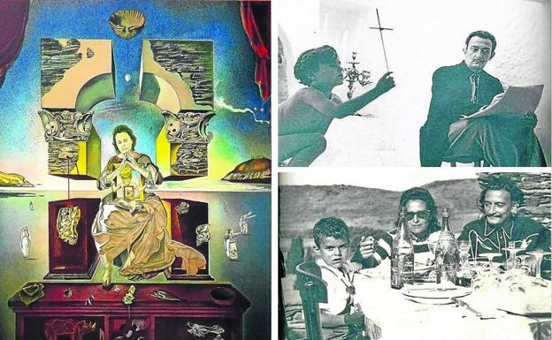 The play.  'Madonna de Portlligat', with Gala and Joan as models.  Model.  Joan works with Dalí in 1951. Family meal.  Joan with Gala and Salvador.  'The secret child of the Dali'
