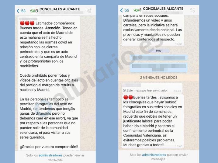 """Capturas de pantalla filtradas por elDiario.es donde se ve cómo Vox pide a sus concejales de Alicante que acudan a Madrid con """"justificantes laborales"""". Autor y fuente: elDiario.es"""