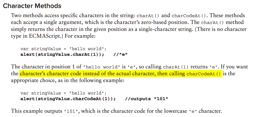 How do we figure out a strings character code?