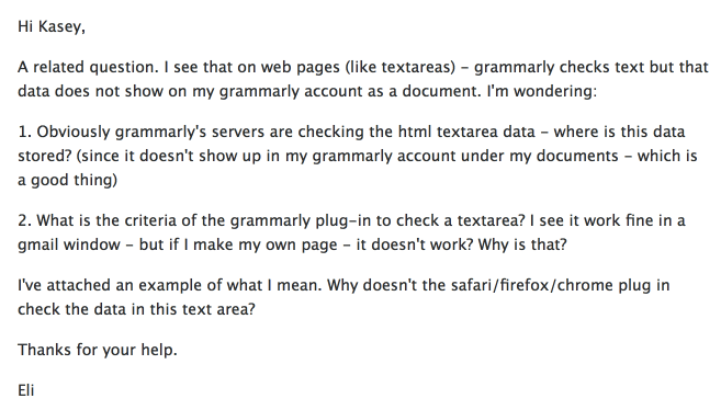 My question to Grammarly support