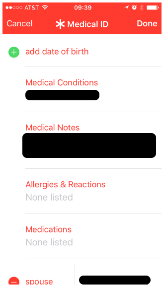 Add whatever medical information you are comfortable with