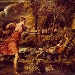 Muerte de Acteón por Vecellio, Tiziano