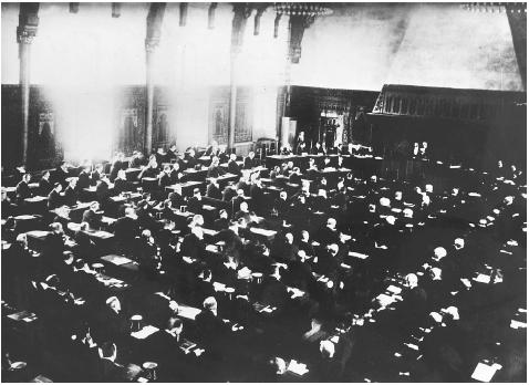 The original 1907 Conventions remain a guiding force in international conflict resolution, human rights, and humanitarian law. Here, the inaugural session of the Hague Appeal for Peace Conference in the Riddersaal. [HULTON ARCHIVE/GETTY IMAGES]