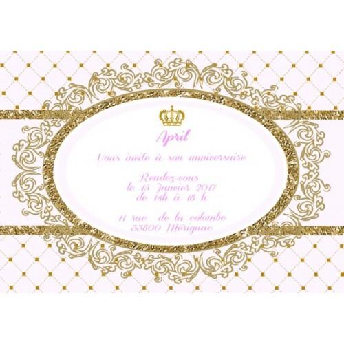 6 cartes invitation anniversaire princesse dore et rose couronne cadre format 10x15 cm imprimee et personnalisee