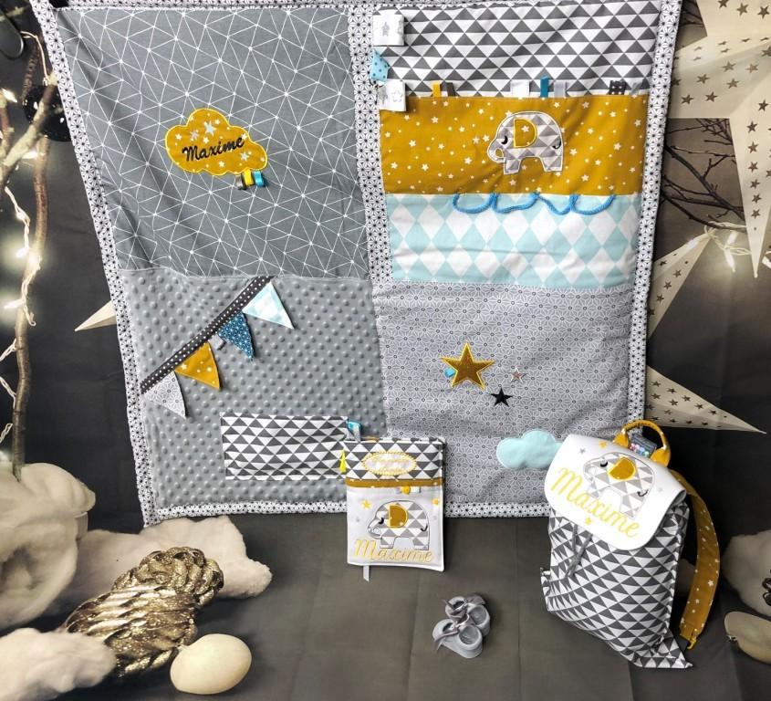 tapis de jeu bebe personnalise tapis de parc 85x85 tapis d eveil modele garcon gris et moutarde