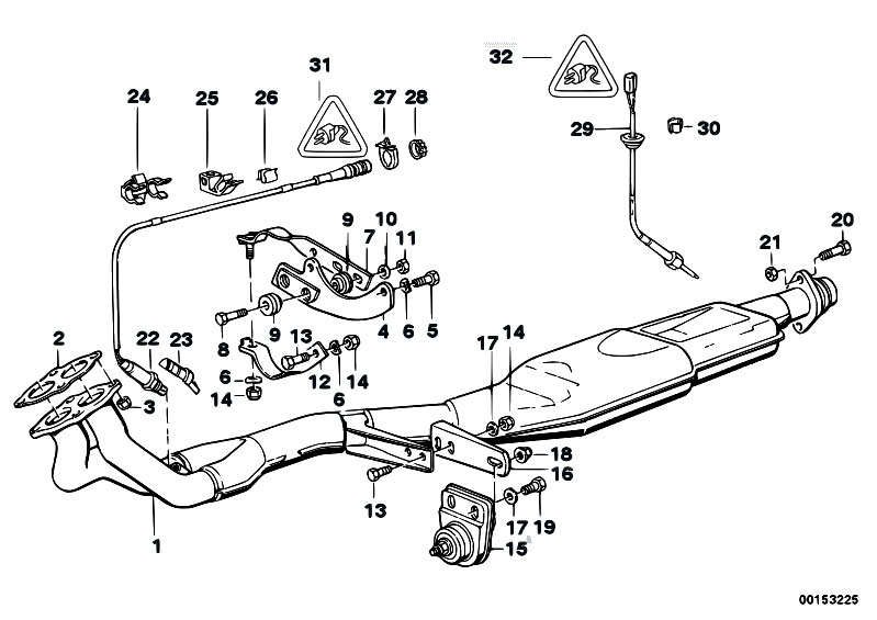 Original Parts For E30 318i M40 2 Doors / Exhaust System