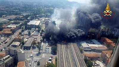 An accident caused a large explosion and fire at Borgo Panigale, on the outskirts of Bologna, Italy, Aug. 6, 2018.