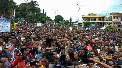 Tens of thousands of protesters call for a regime change in Ethiopia