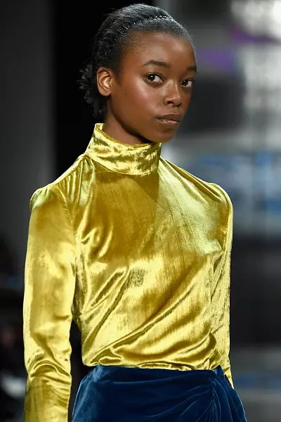 Olivia Anakwe walks the runway for Prabal Gurung during New York Fashion Week in 2018