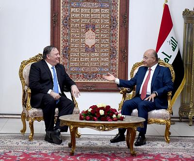 Iraq\'s President Barham Salih meets with Secretary of State Mike Pompeo in Baghdad, Iraq on May 7, 2019.