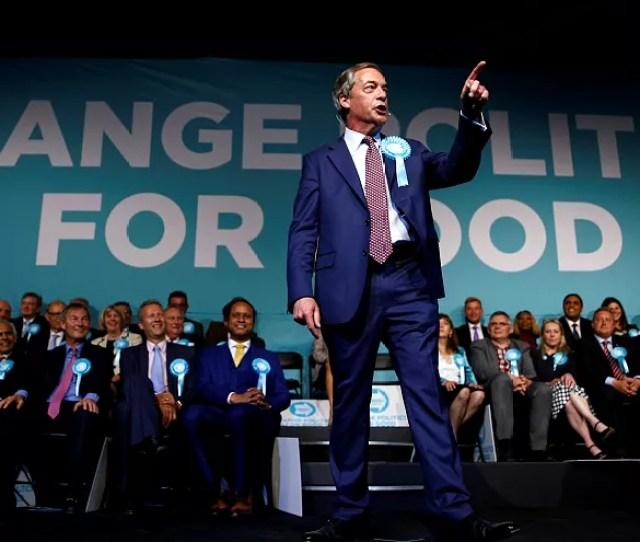 Brexit Party Leader Nigel Farage Gestures As He Speaks In London On 21 May
