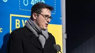 Karácsony Gergely beszédet mond a BVSC-Zugló sportkomplexum geotermikus hőellátó rendszerének avatásán február 18-án