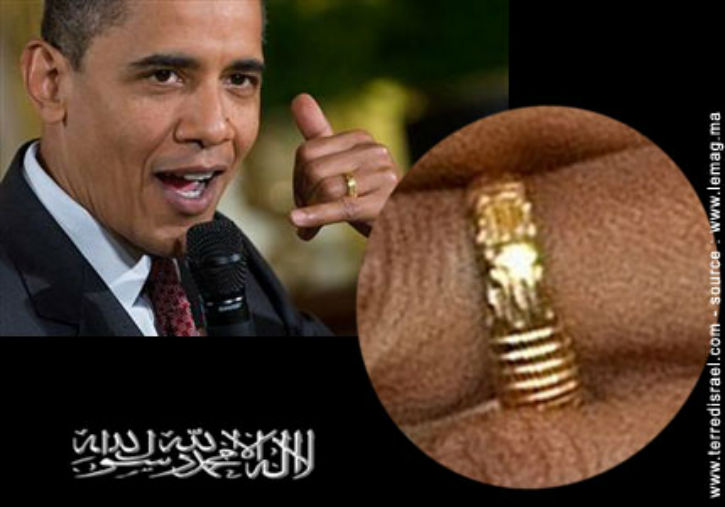 Obama musulman ? « La Ilaha Illa Allah », inscrite sur la bague de Barack Obama.