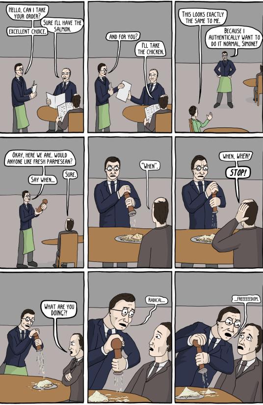 Sartre's Waiter (existential comics)