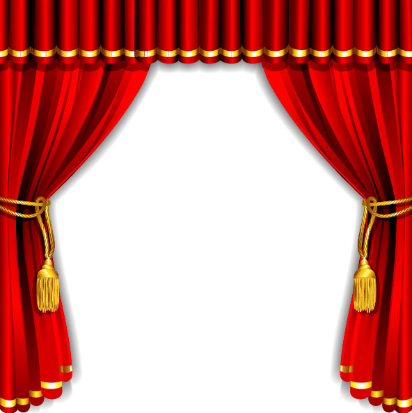 Red Curtain Elements Vector Background 01 Free Download