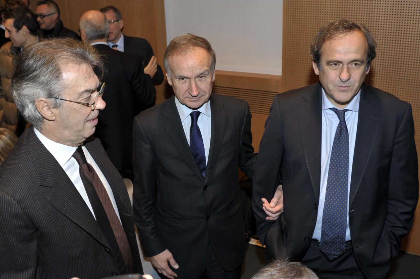 Moratti con Platini e Petrucci