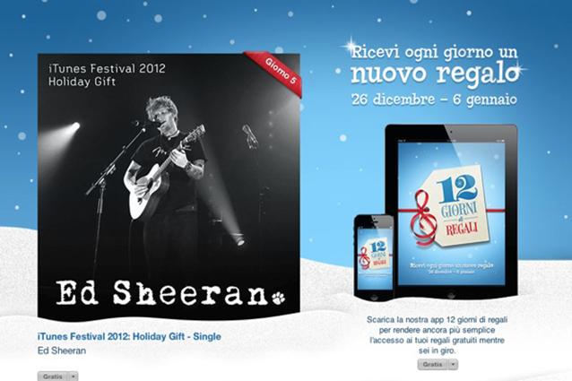 12 giorni di Regali iTunes. Il quinto dono sono 3 brani di Ed Sheeran.