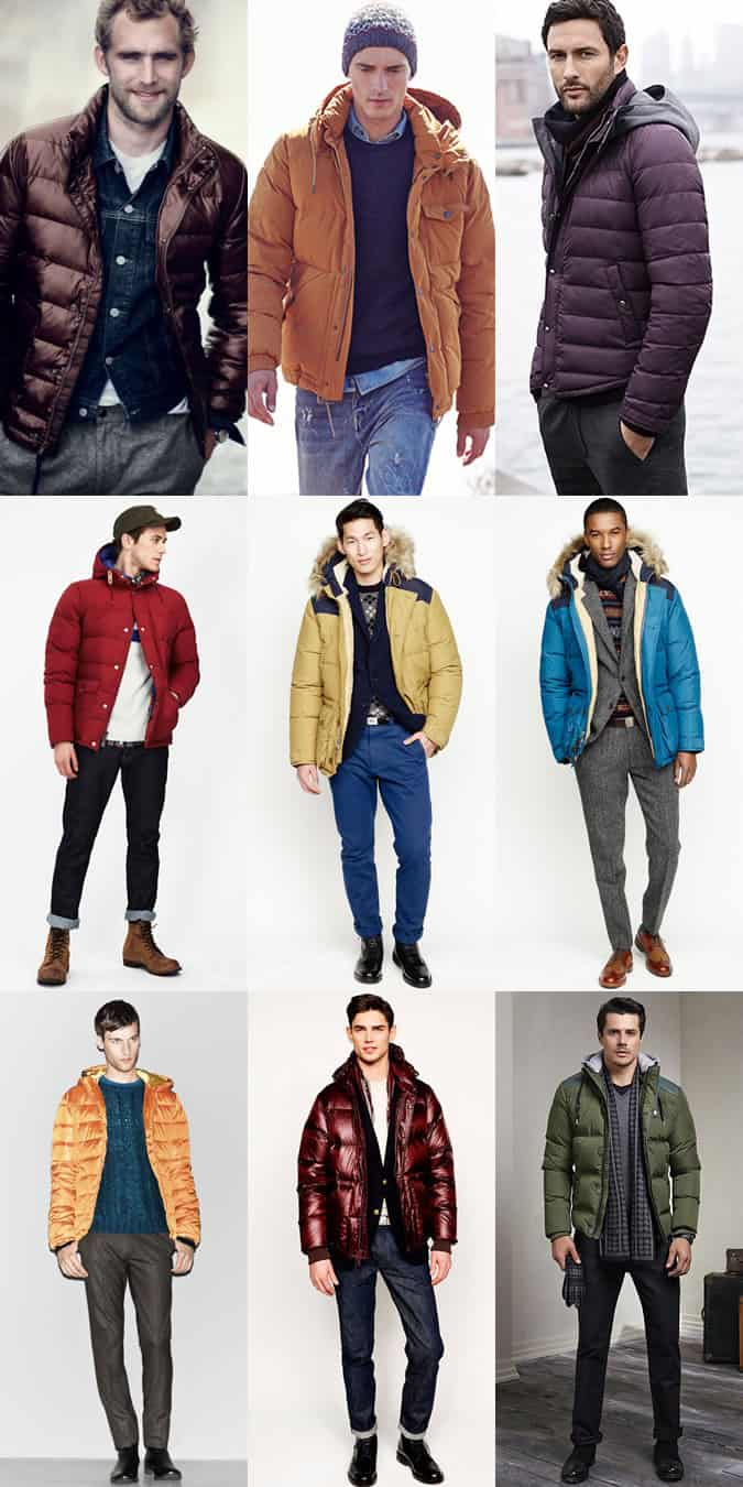 Men's Coloured Puffa/Puffer Jackets Outfit Inspiration Lookbook
