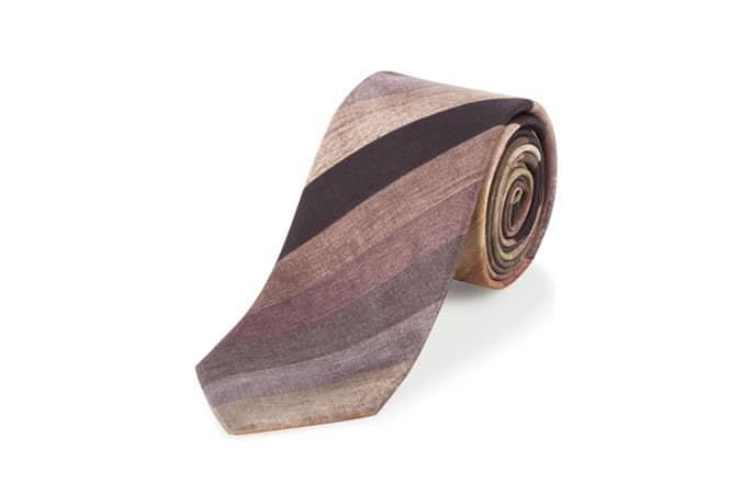 Cravates Paul Smith - Cravate étroite en soie rayée marron