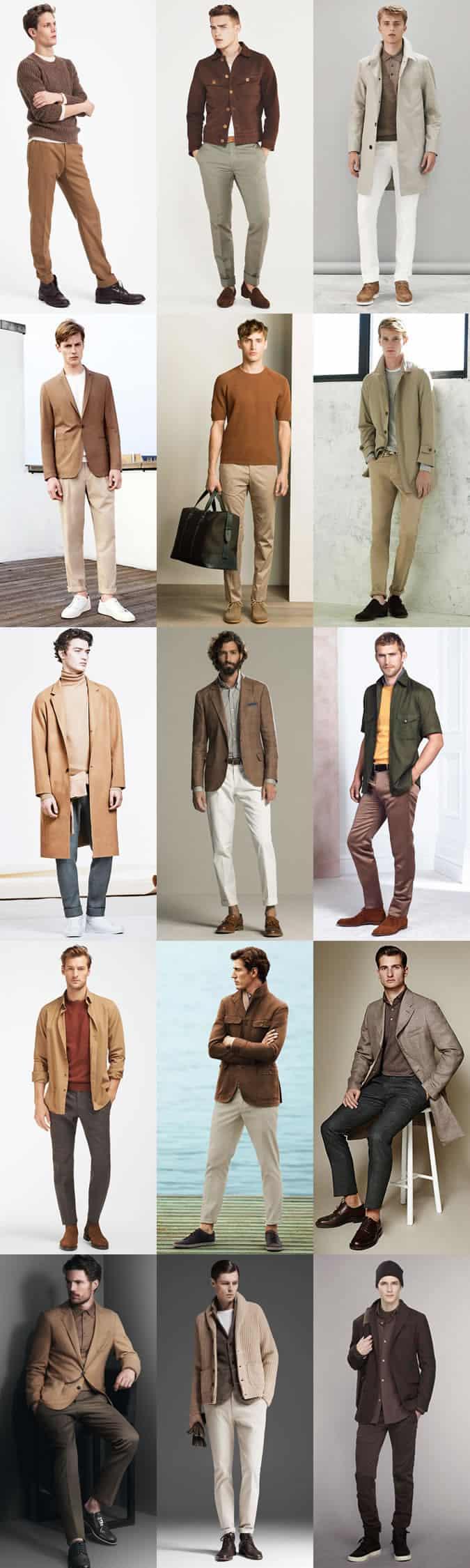 Earth Tones Palette Outfit Inspiration Lookbook pour homme