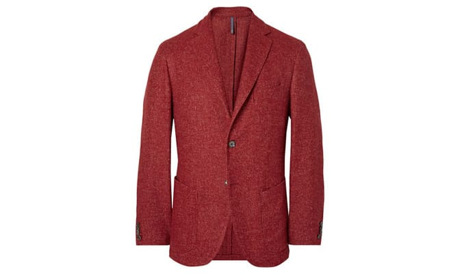 Incotex - Blazer rouge en laine mélangée à chevrons