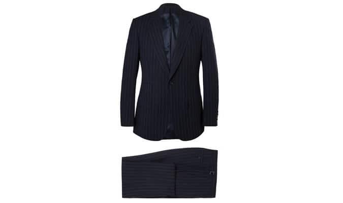 Kingsman - Costume en laine à fines rayures à boutonnage simple bleu marine