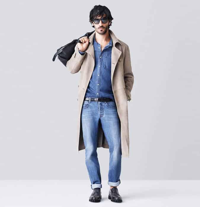 Jeans délavé léger pour homme - Look d'inspiration de tenue en denim double