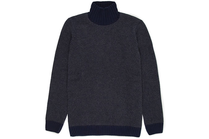 Sunspel Jacquard Knit Roll Neck Jumper