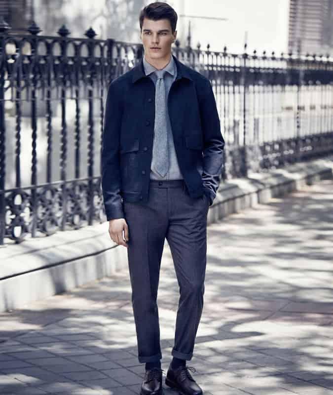 Men's Shirt & Tie With Blouson/Harrington Jacket