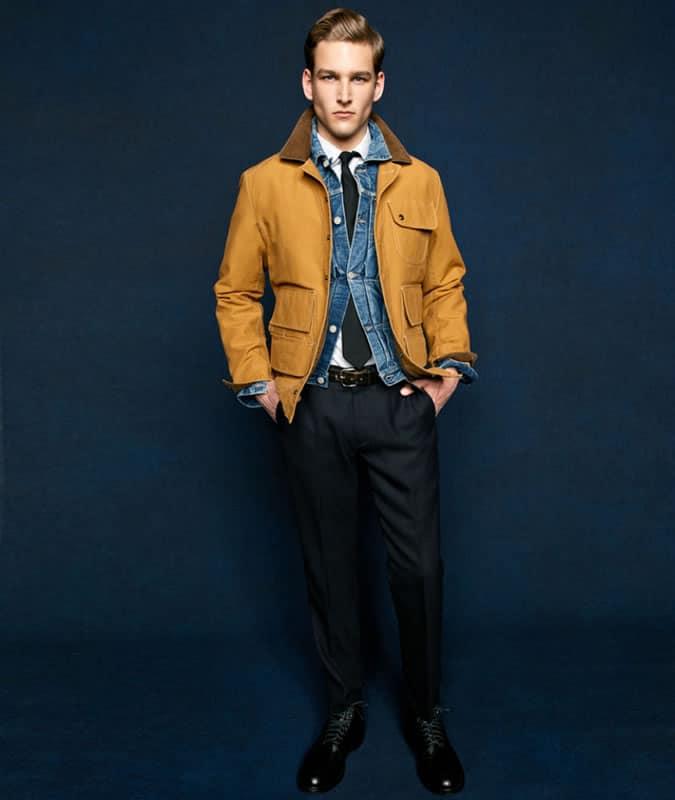Men's Shirt & Tie With Denim Jacket