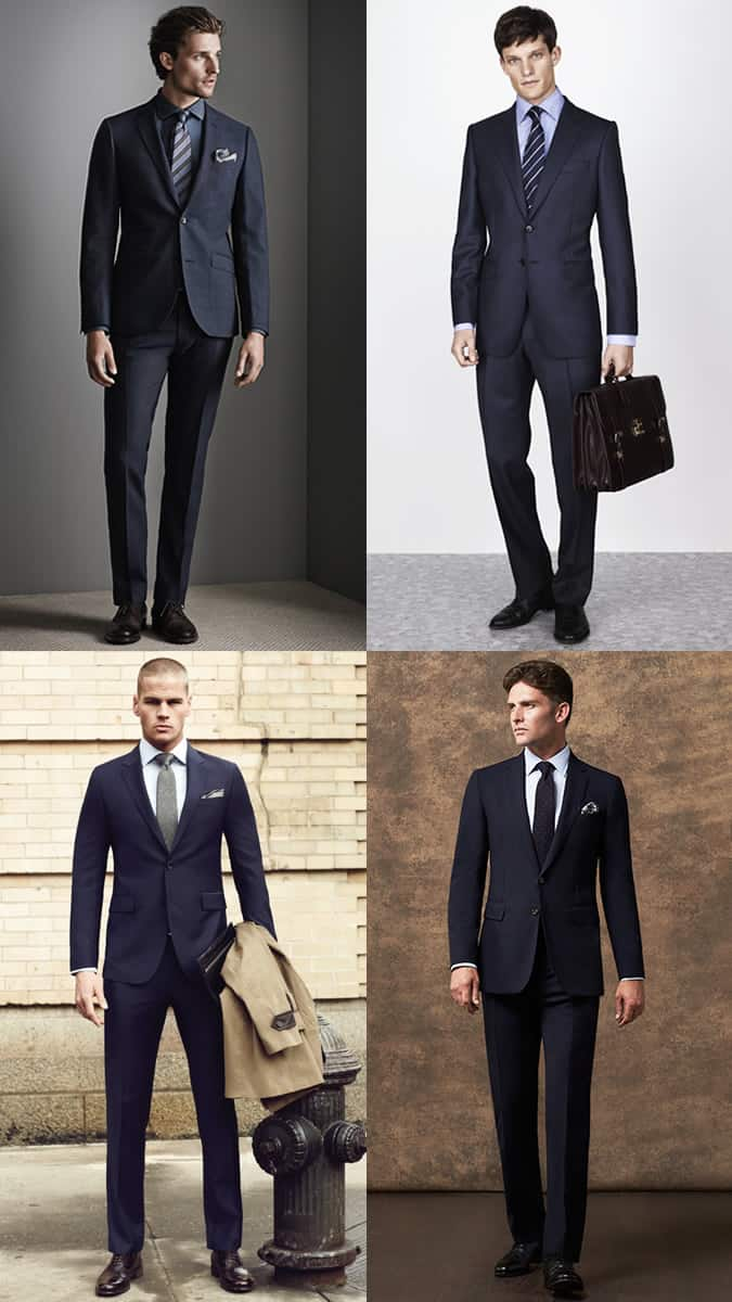 Men's Plain Navy Two-Button Suit Outfit Inspiration Lookbook