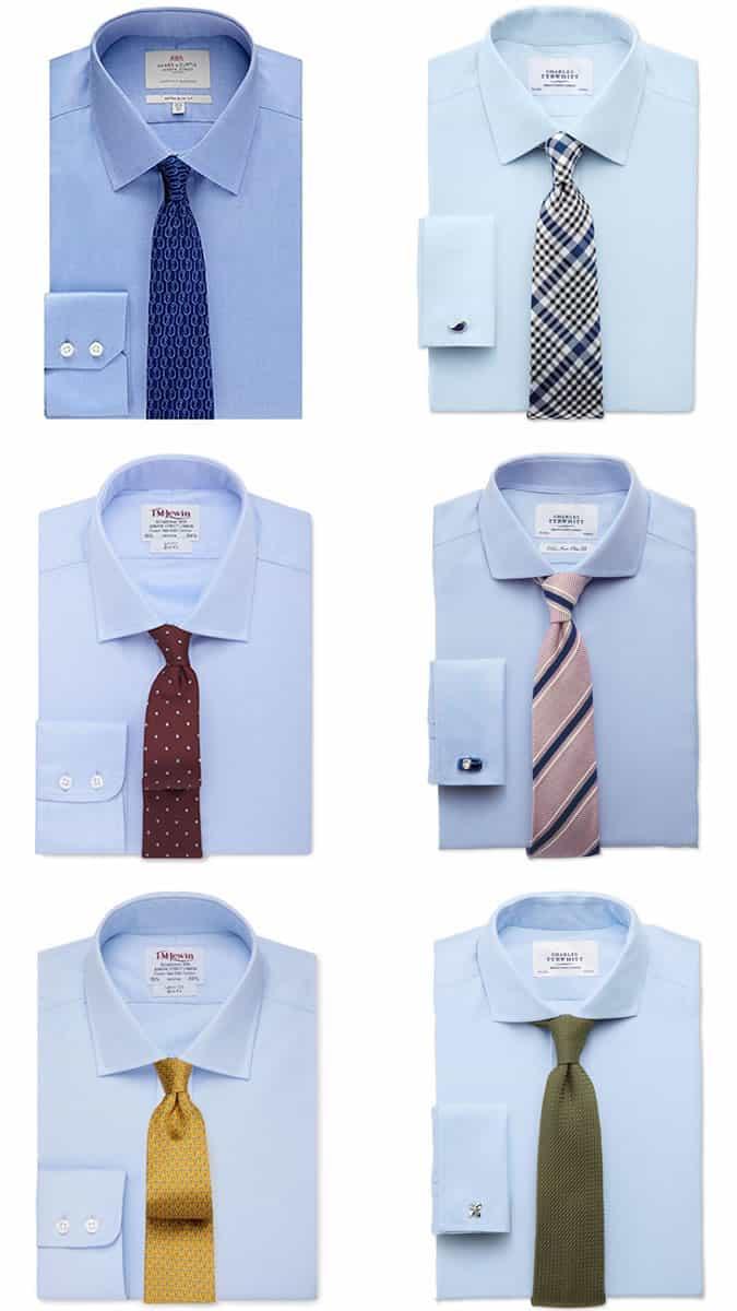 Men's Light/Sky Blue Shirt and Tie Combinations