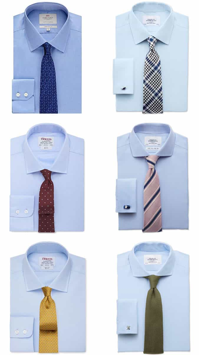 Combinaisons chemise et cravate bleu clair / bleu ciel pour homme