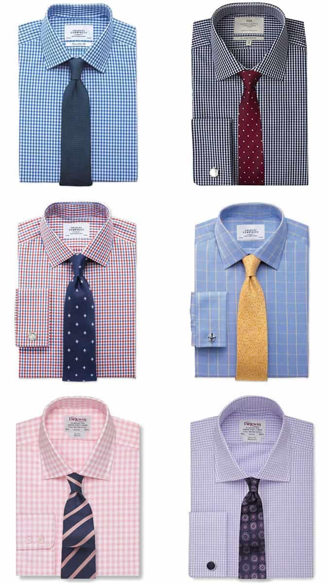 Combinaisons chemise et cravate à carreaux pour homme