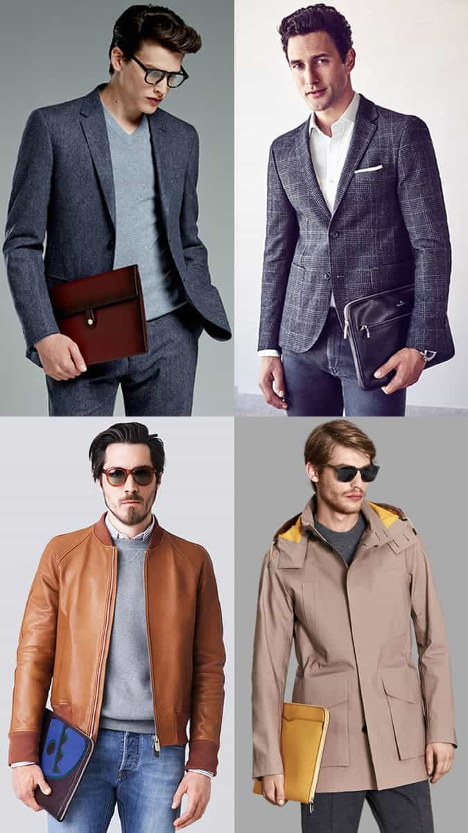 Men's Portfolios and Document Pouches Outfit Inspiration Lookbook 2017 Bag Trends