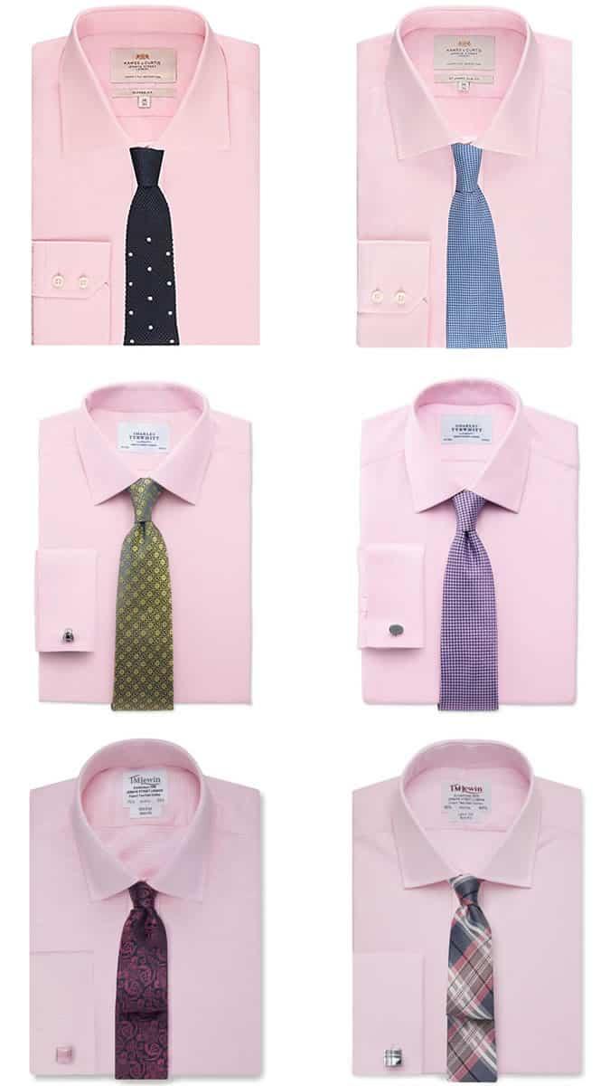 Combinaisons chemise et cravate rose pour homme