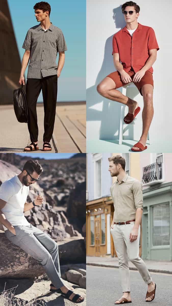 Sandales en cuir et sliders de piscine pour hommes Lookbook d'inspiration
