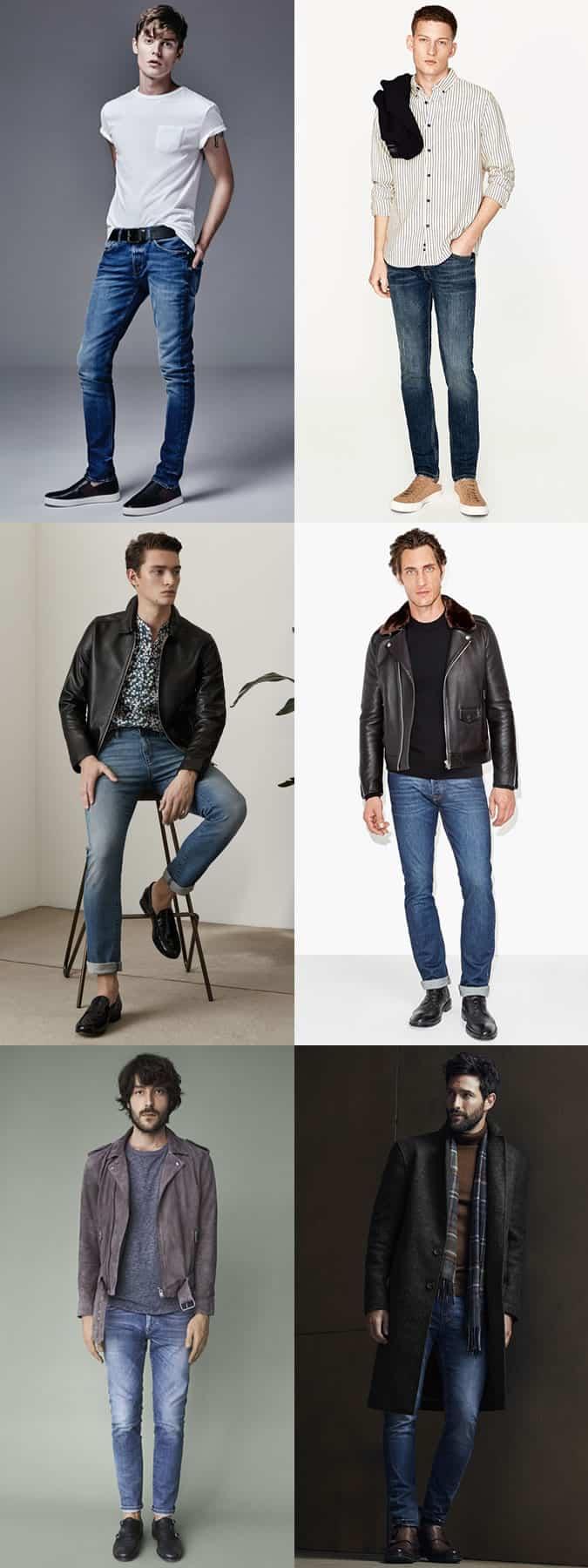 Lookbook d'inspiration de tenue de jean mi-délavé pour homme