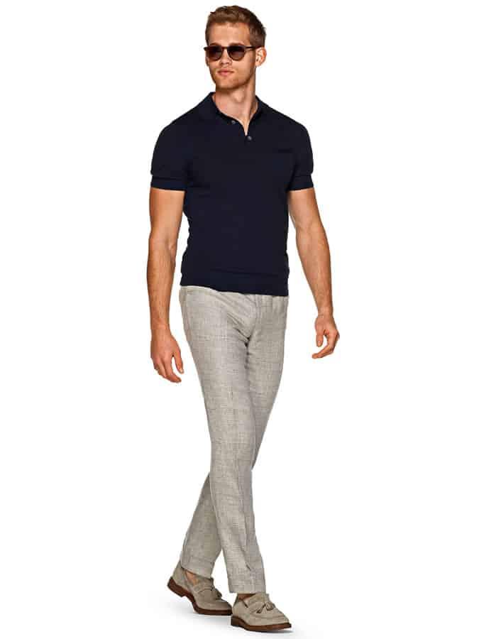 Pantalon léger + polo + tenue mocassins