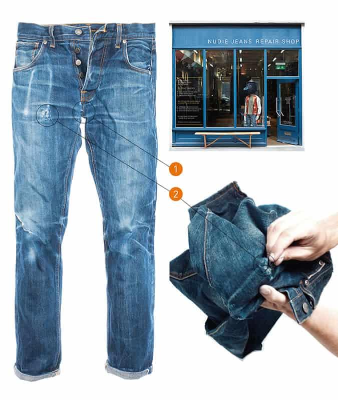 Service de réparation de jeans en denim Nudie