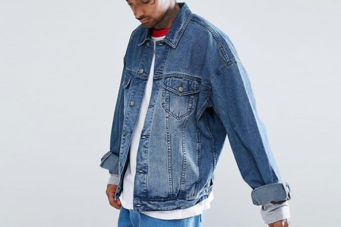 ASOS - Veste en jean oversize à délavage moyen