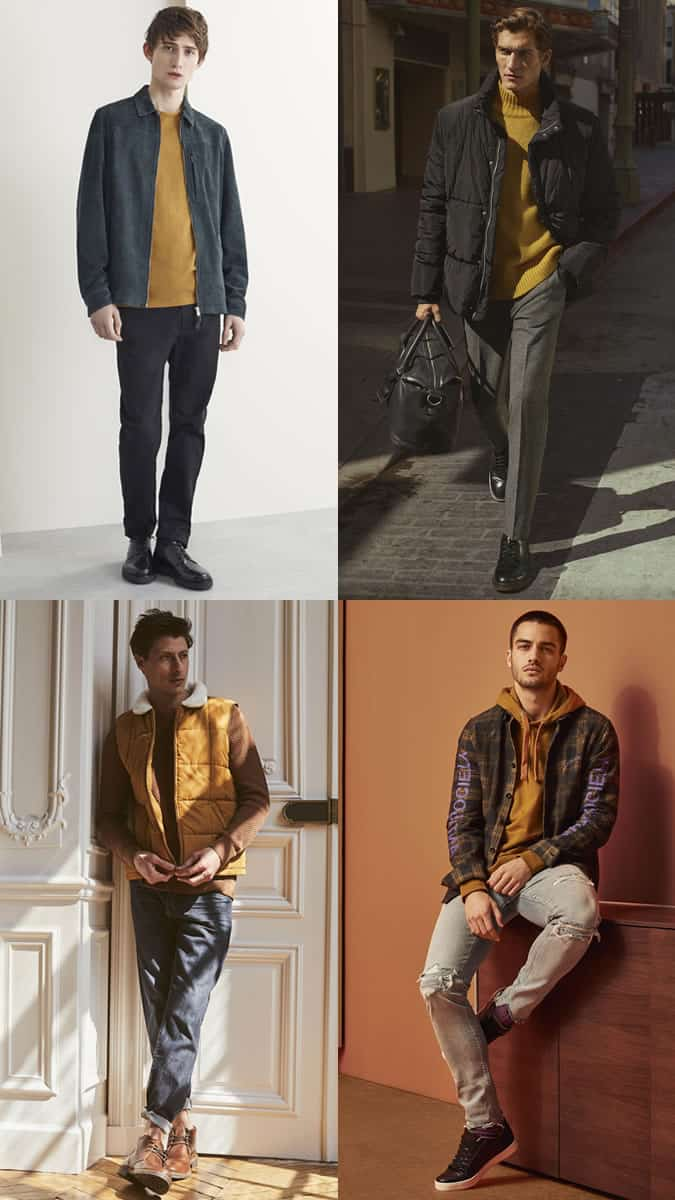 how to wear the mustard trend for men