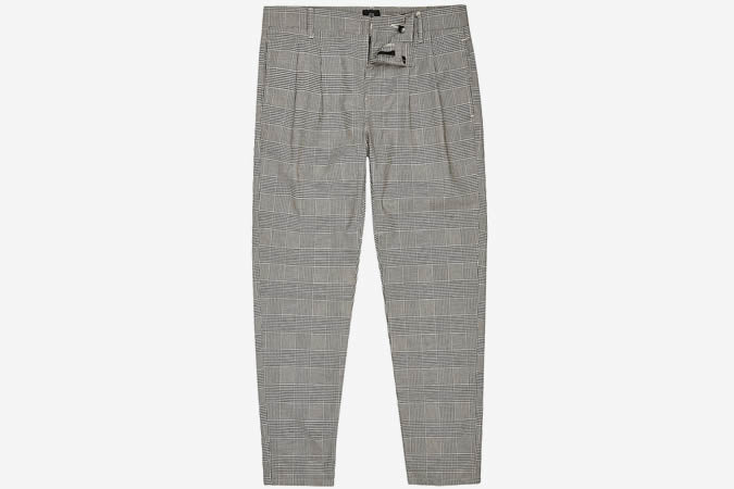 Pantalon fuselé à carreaux gris River Island