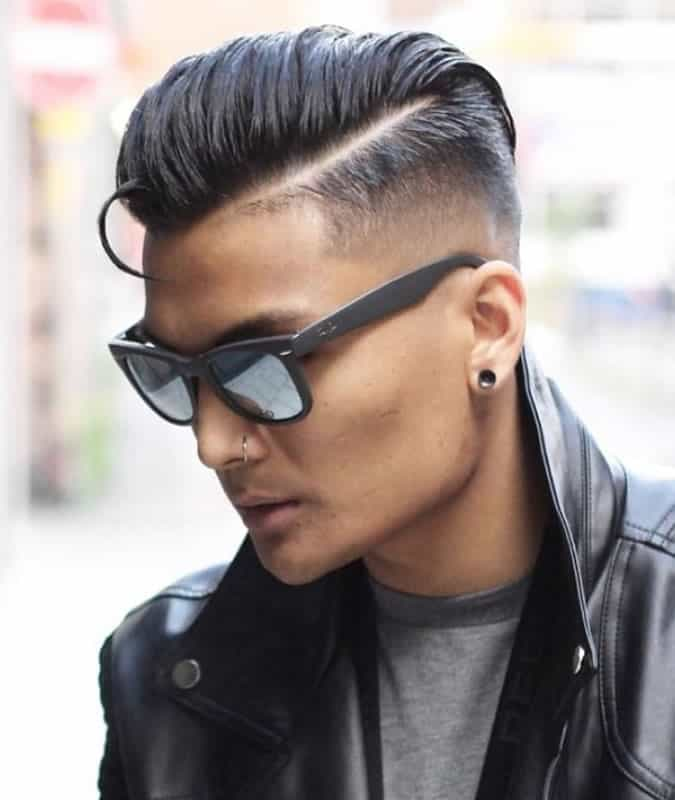 Slick back comb over fade haircut
