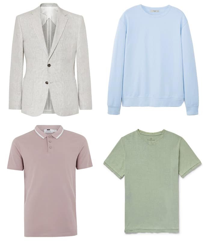 Vêtements colorés délavés pour hommes