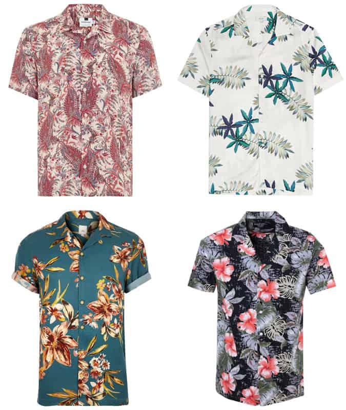 Chemises à col cubain à fleurs pour homme
