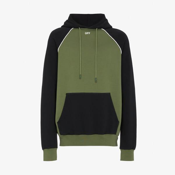 Sweat à capuche imprimé flèches noir et vert