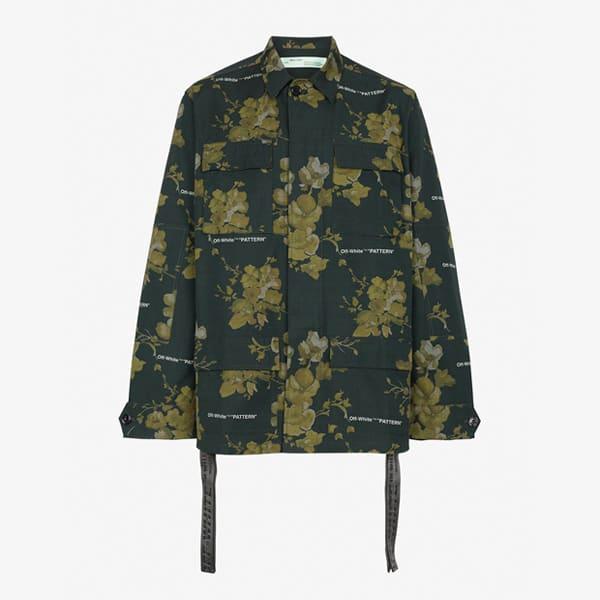 Veste chemise à fleurs verte