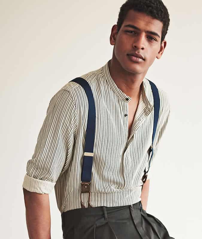 Chemise à rayures verticales pour homme