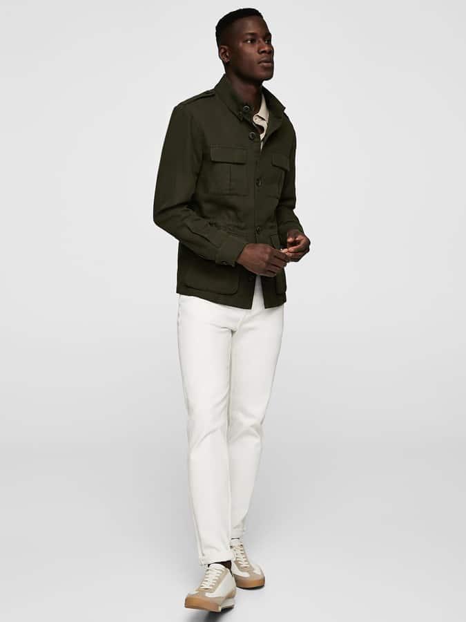Jean blanc avec veste de campagne